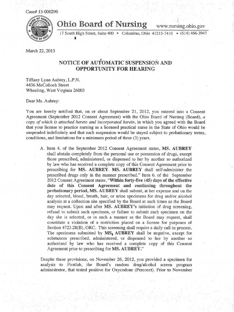 March 2013 Board of Nursing Notices | Medical Prescription | Drug Test