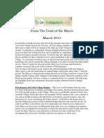 March 2013 Fleischmanns Mayor's Newsletter