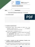 PLANO DE RECUPERAÇÃO GERAL Dinâmica Familiar
