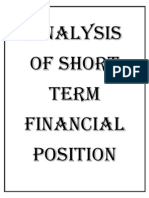 Cover Page of Analysis of Short Term Financial Position