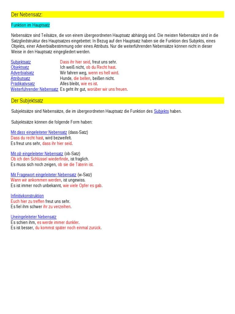 syntax der nebensatz skripta fhn - Adverbialsatze Beispiele