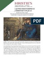 Burne Jones Masterpiece at Christie's in July