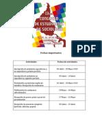 Fechas Relevantes y Costos de Inscripción 13avo Congreso de Estudiantes de Sociología