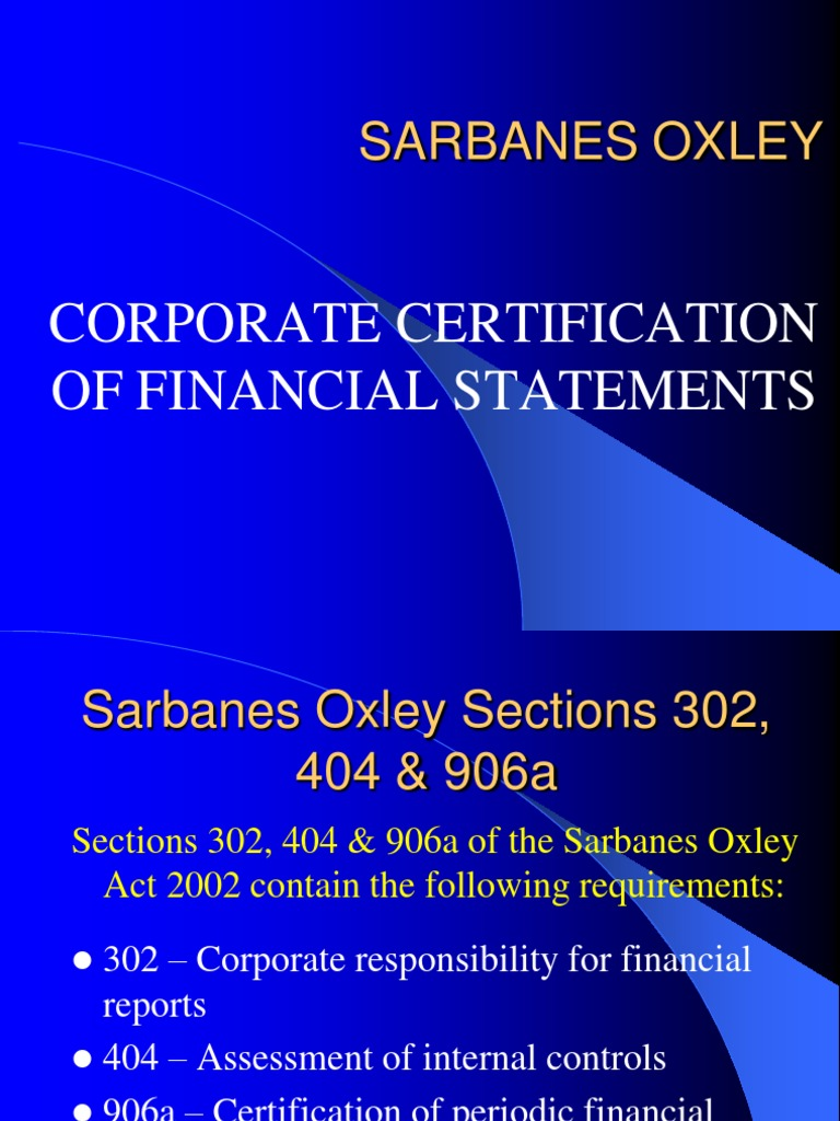 Sarbanes Oxley Act Sarbanesoxley Act Audit