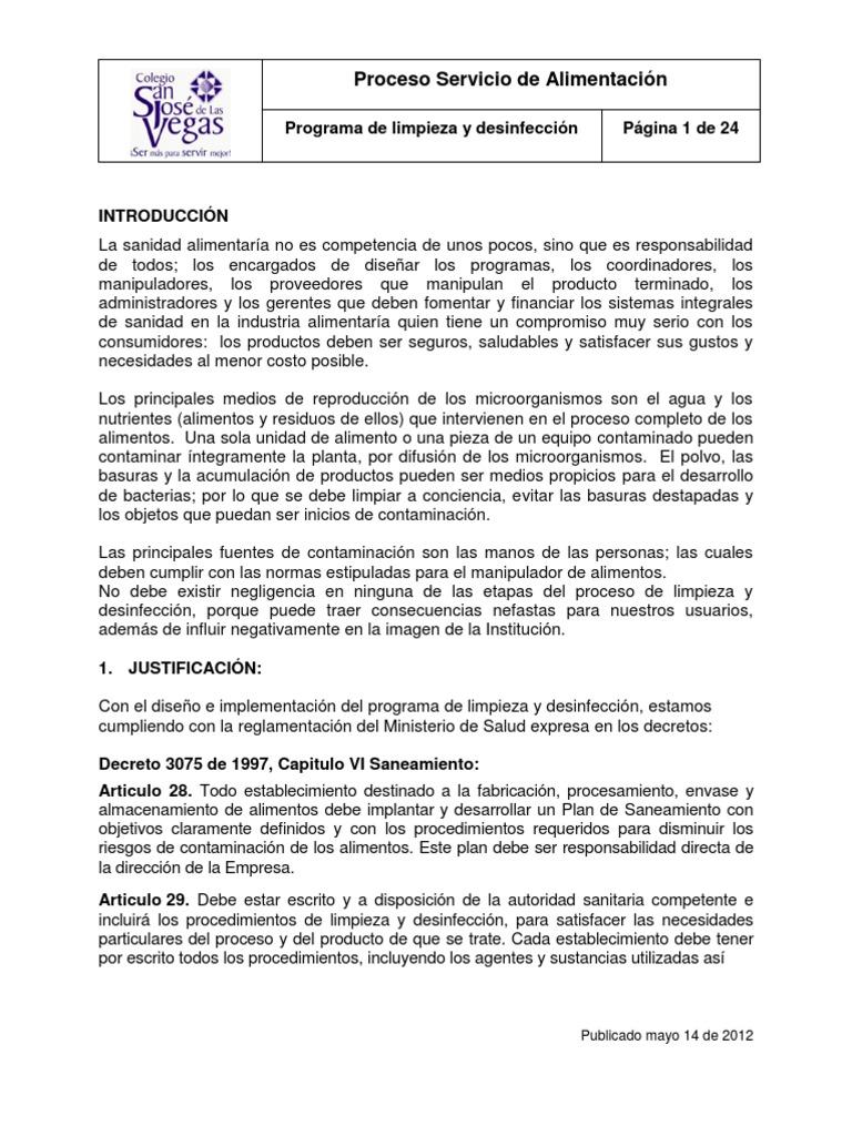 Programa de limpieza y for Manual de limpieza y desinfeccion en restaurantes