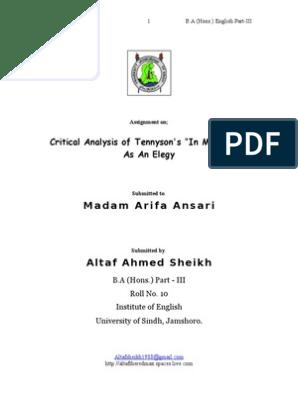 Madam Arifa Ansari: Critical Analysis of Tennyson's