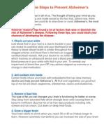 25 Simple Steps to Prevent Alzheimer