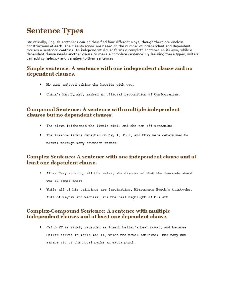 Sentence Types   Sentence (Linguistics)   Syntax