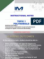 Topic 1 POLYNOMIALS