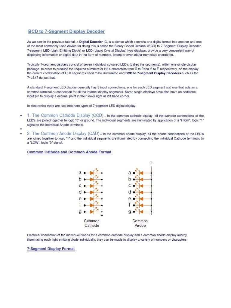Bcd To Seven Segment Binary Coded Decimal Light Emitting Diode Display Decoder Logic Diagram 0f