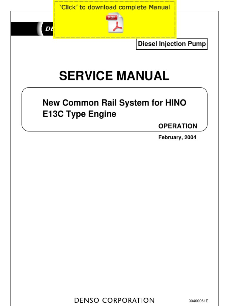 DENSO Common Rail Hino E13C Service Manual Pages | Exhaust Gas ...