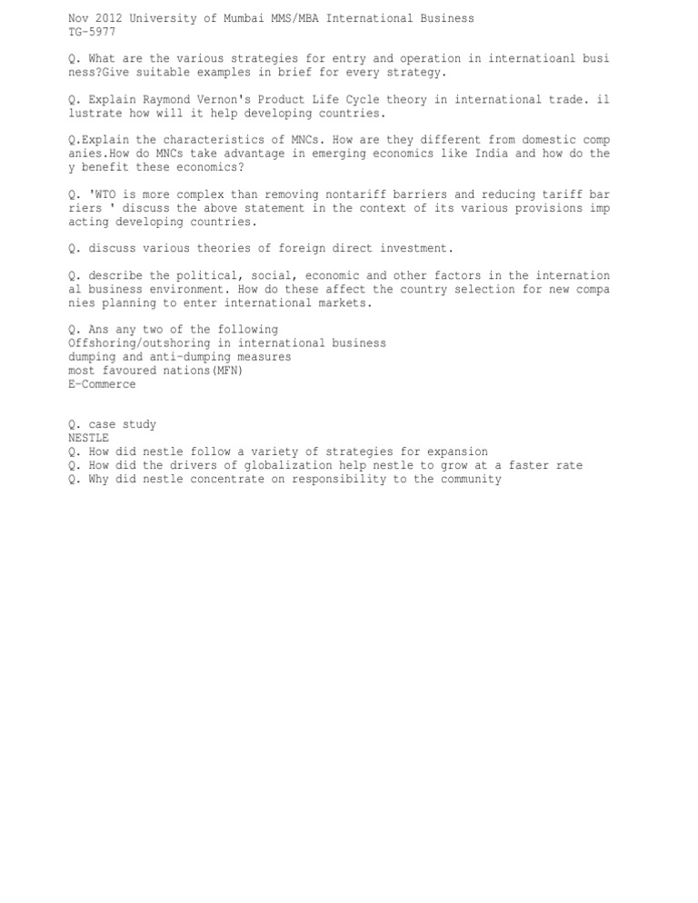 ib mumbai univeristy mms mba ib question paper international ib mumbai univeristy mms mba ib question paper international business nov 2012
