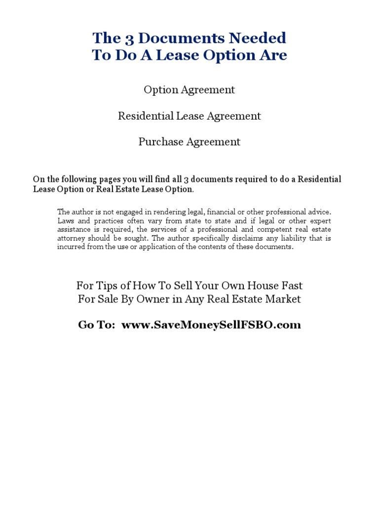 All 3 Documents Needed To Do A Residential Lease Option