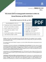 TCS_PressRelease_IFRS_USD_Q4_12