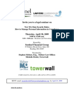 New Massachusetts Privacy Rules Seminar Flyer 4/30/09
