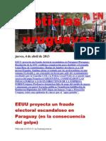 Noticias Uruguayas miércoles 3 de Abril Del 2013