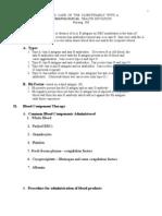 Hematology Outline for Blackboard Revised C