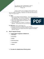 Short Version of Hematology Outline for Blackboard