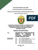 Analisis de Investigacion de Muerte de Personas en Custodia, Relacionado Al Codigo Procesal Penal