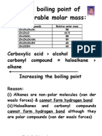The Boiling Point of Comparable Molar Mass