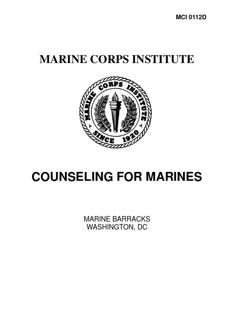 0112D Counseling for Marines Leadership Mentoring – Counseling Worksheet Usmc