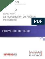 Lourau, ReneÌ-, La InvestigacioÌ-n en AnaÌ-lisis Institucional