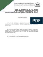 Documentos Registrados para la Sesión del día  07 de mayo de 2012