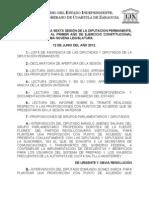 Documentos Registrados para la Sesión del día 12 de junio de 2012