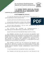 Documentos Registrados para la Sesión del día 18 de diciembre de 2012