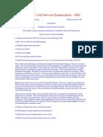 English - Civil Services Examination - 2002