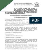 """Documentos Registrados para la Sesión Solemne del día 19 de Febrero de 2013 """"Día del Ejército"""""""