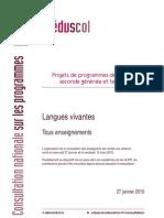 Projet LV Programme 2ème Eduscol