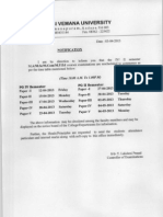 Yogi Vemana Uniersity Revised TimeTable Of PG Examinations 2013