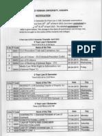 Yogi Vemana University (YVU) Revised Time Table Of 3 Year Law I,III & V Semester Examinations