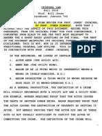 Criminal Law Outline - Jones - Fall 2010
