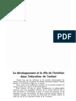 Le développement et le rôle de l'intuition dans l'éducation de l'enfant, par Ghislaine de Lallande