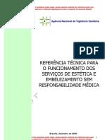 REFERÊNCIA TÉCNICA PARA funcionamento dos serviços de estética