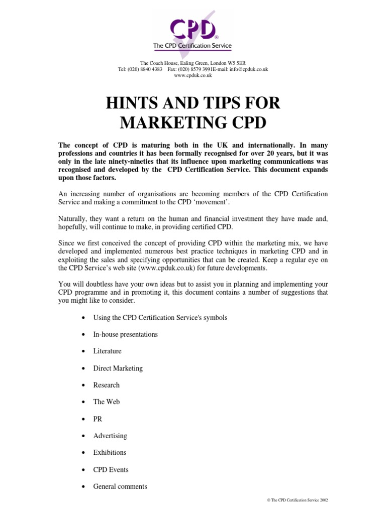 Hints And Tips For Marketing Cpd Professional Development