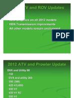 2012 Arctic Cat Service Updates and Bulletins