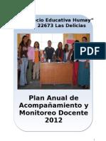 PLAN ANUAL  DE MONITOREO I.E N° 22673- 2012