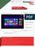 Thinkpad Tablet 2 Datasheet