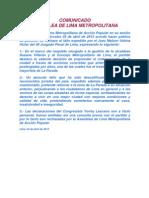 Comunicado de AP Lima Desautorizando a Lescano