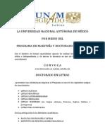 Doctorado en Letras Convocatoria 2014 1