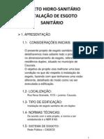Dimensionamento do sistema residencial de Esgoto Sanitário hidro 2