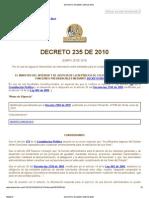 DECRETO NUMERO 235 de 2010 - Intercambio de Informacion Entre Entidades Para El Cumplimiento de Funciones Publicas