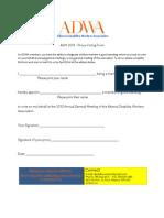 ADWA - AGM 2013 - Proxy Voting Form
