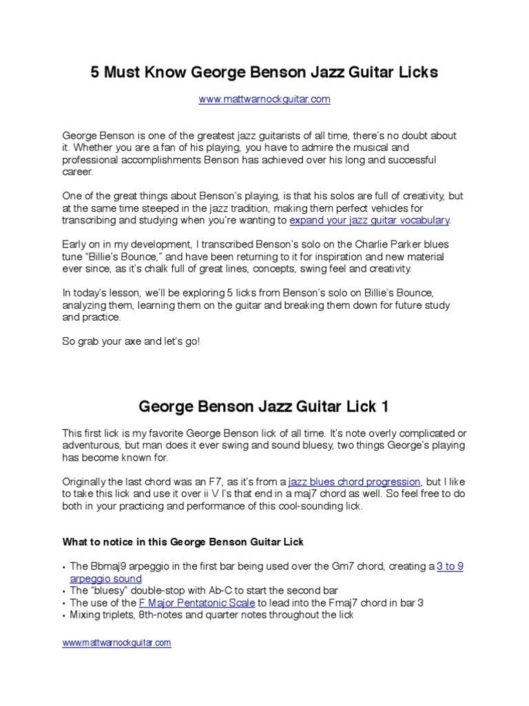 5 Must Know George Benson Jazz Guitar Licks Jazz Chord Music