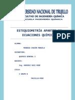 ESTEQUIOMETRÍA APARTIR DE ECUACIONES QUÍMICAS