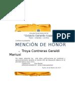 Diplomas Quinto Mención de Honor