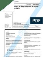 NBR 9649 NB 567 - Projeto de Redes Coletoras de Esgoto Sanitario